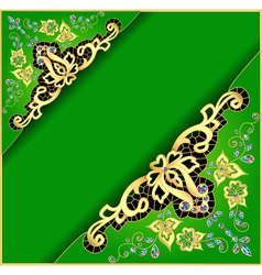 Green background with gold ornament vector