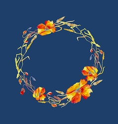 Handpainted watercolor of wreath with poppie vector