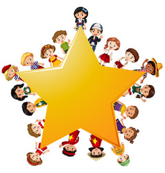 Happy children around yellow star vector