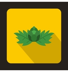 Hop with leaves and cone icon flat style vector image