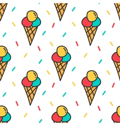 Ice cream and confetti seamless pattern background vector image vector image