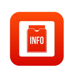 info folder icon digital red vector image vector image