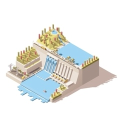 Isometric hydro power plant infographic vector
