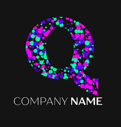 Letter q logo with pink purple green particles vector