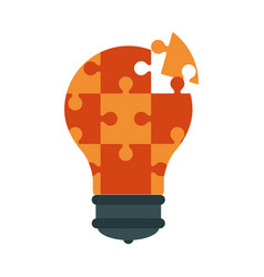lightbulb made of puzzle pieces teamwork concept vector image