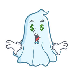 money eye cute ghost character cartoon vector image vector image