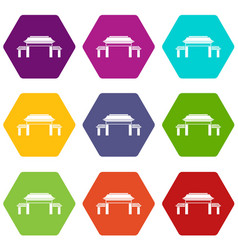 pagoda icon set color hexahedron vector image