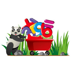 Panda pushing wagon full of numbers vector