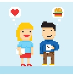 Pixel art game style office colleagues in love vector image