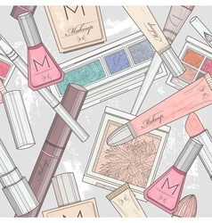 Seamless makeup and cosmetics pattern vector