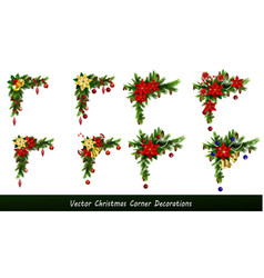 set of cristmas corner decorations vector image vector image
