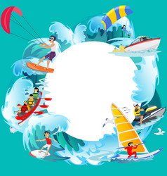 Set of water extreme sports backgrounds isolated vector