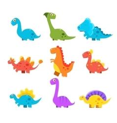 Small colourful dinosaur set cute vector