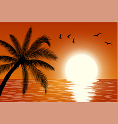 sunset summer sunset landscape vector image vector image