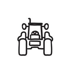 Tractor sketch icon vector