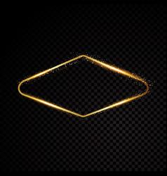 vegas golden frame shining banner vector image