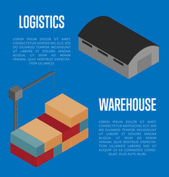 Warehouse logistics isometric banner vector