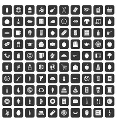 100 lunch icons set black vector