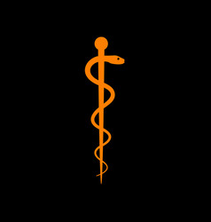 symbol of the medicine orange icon on black vector image