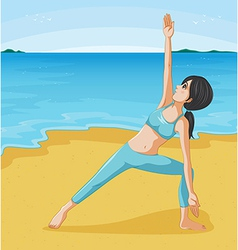 A girl doing her exercise at the seashore vector