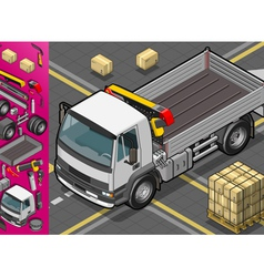 Isometric container truck vector