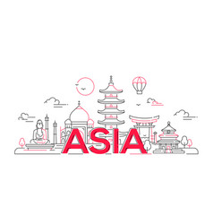 Asia - line travel vector