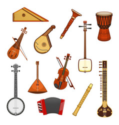 classic and ethnic music instrument icon set vector image