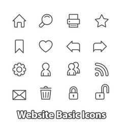 Basic set of website icons contour flat vector