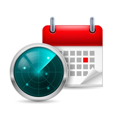 Radar screen and calendar vector