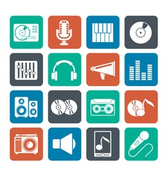 Silhouette music and audio equipment icons vector