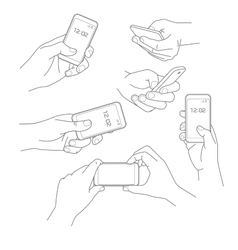 Hand holding smartphone vector