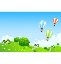 Green landscape with balloons vector
