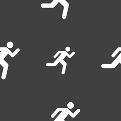 Running man icon sign seamless pattern on a gray vector