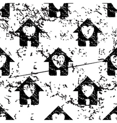 Love house pattern grunge monochrome vector