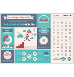 Technology flat design infographic template vector