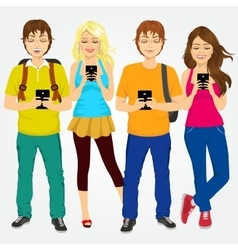 Young students using mobile phones vector