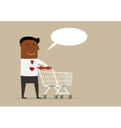 Black businessman with cart and speech bubble vector image