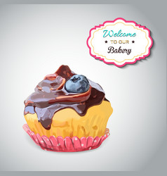 Set of delicious cupcake with different toppings vector