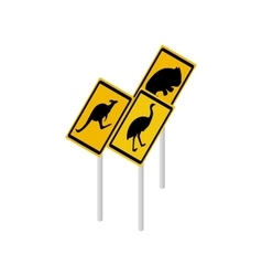 Australian wildlife road signs icon vector