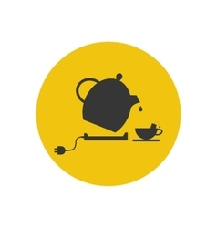 Electric kettle and tea cup silhouette vector