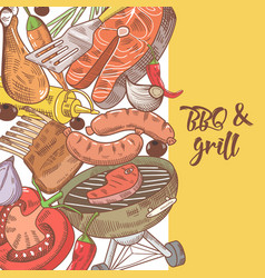 Barbecue and grill hand drawn design with meat vector