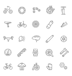 Bike tools and equipment part icon set vector image