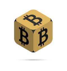 bitcoin golden bitcoin cube vector image vector image
