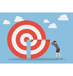 Business woman pushing missing piece in big target vector image