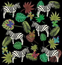 butterfly zebra and tropical leaves vector image vector image