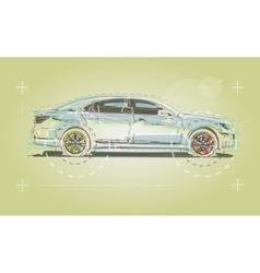 Car drawn for the business booklet vector
