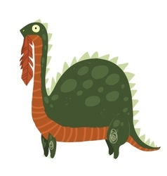 Cartoon dinosaur eating leaves mascot icon vector