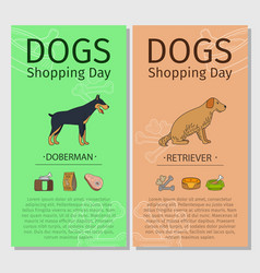 doberman and retriever dog shopping day vector image vector image