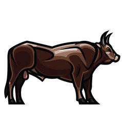 draving - powerful horned bull vector image vector image