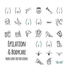 epilation and bodycare thin line icons set vector image vector image